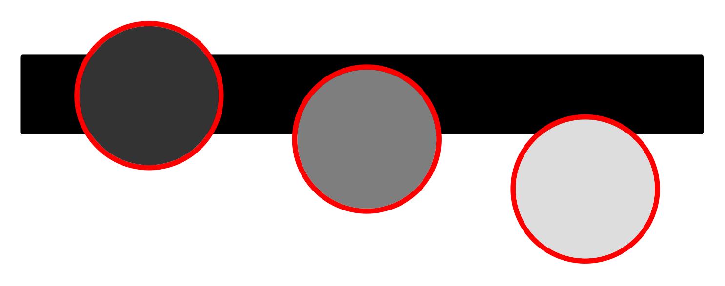 線と光センサの位置による検出される明るさの違い
